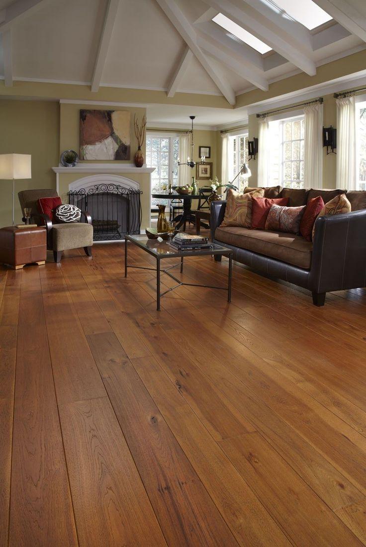 Brushed Hickory Living Room FlooringWide Plank