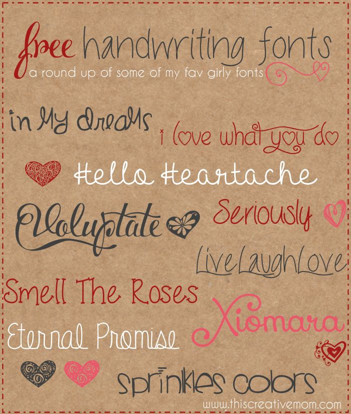 Round up- Free Handwriting Fonts www.thiscreativemom.com With links for download!