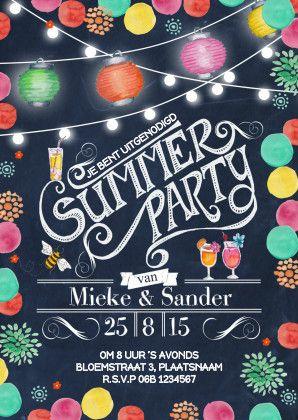 Een vrolijke uitnodiging voor een zomersfeestje. *Cartita Design -- BLOEMEN --