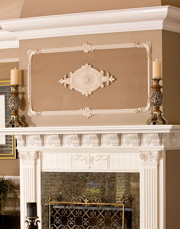 Wall Decoration Above Fireplace : Wall decor with medallion above fireplace mantel