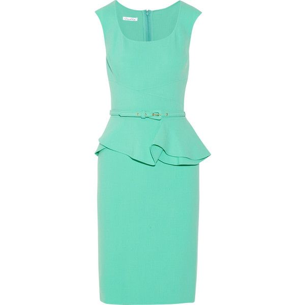 Oscar de la Renta Wool-blend peplum dress found on Polyvore