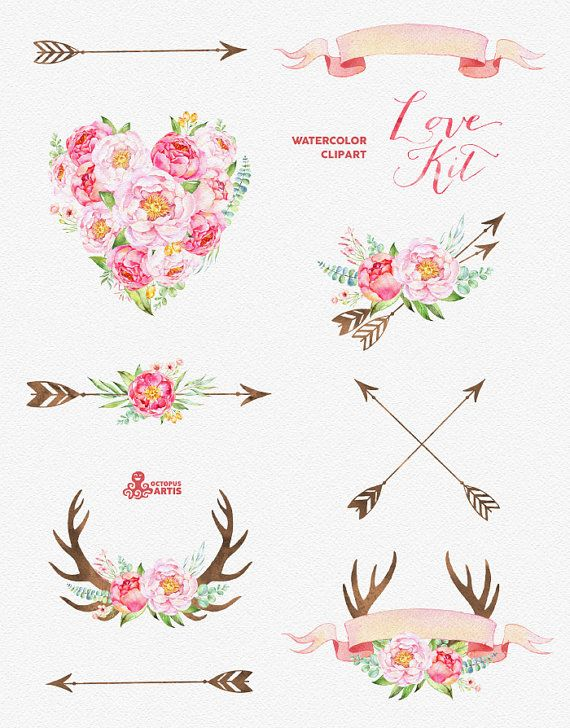Love Kit. Watercolor Clipart peonies arrows by OctopusArtis
