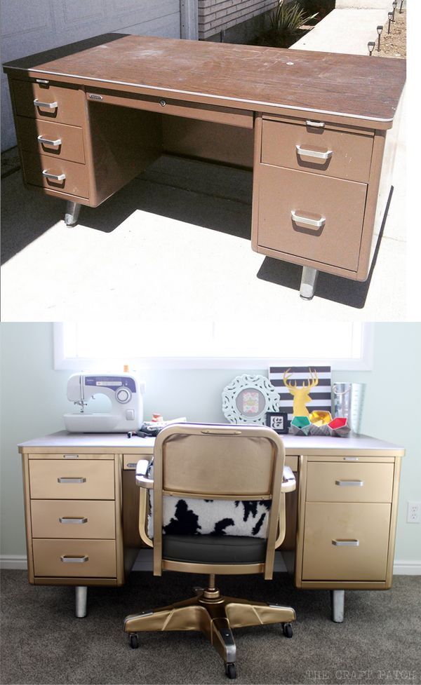 Awesome Vintage Tanker Desk Makeover! Love the chair too!