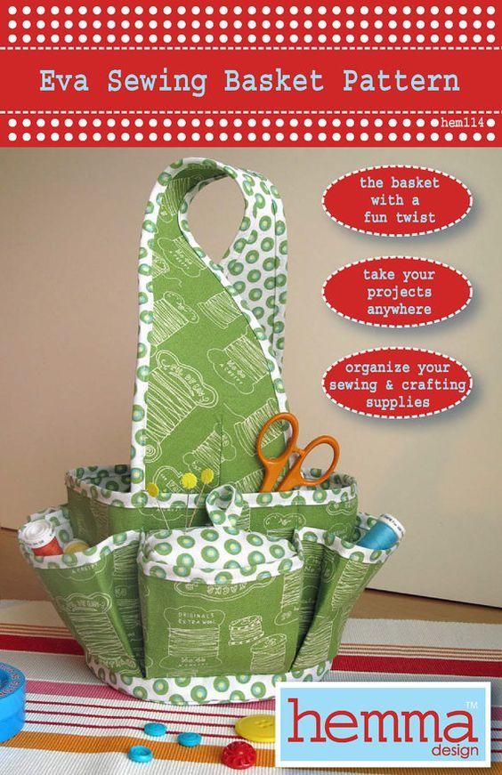 Patrón de cesta de costura de Eva por HemmaDesignPatterns en Etsy:                                                                                                                                                      Más