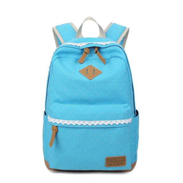 Cute Girl School Backpack Polka Dot Canvas Backpack For Teenage Girls School Bags Lightweight Laptop Backpacks Rucksack