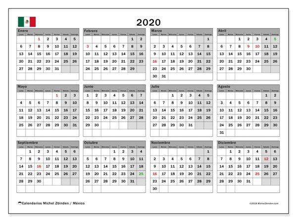 calendario 2020  m u00e9xico