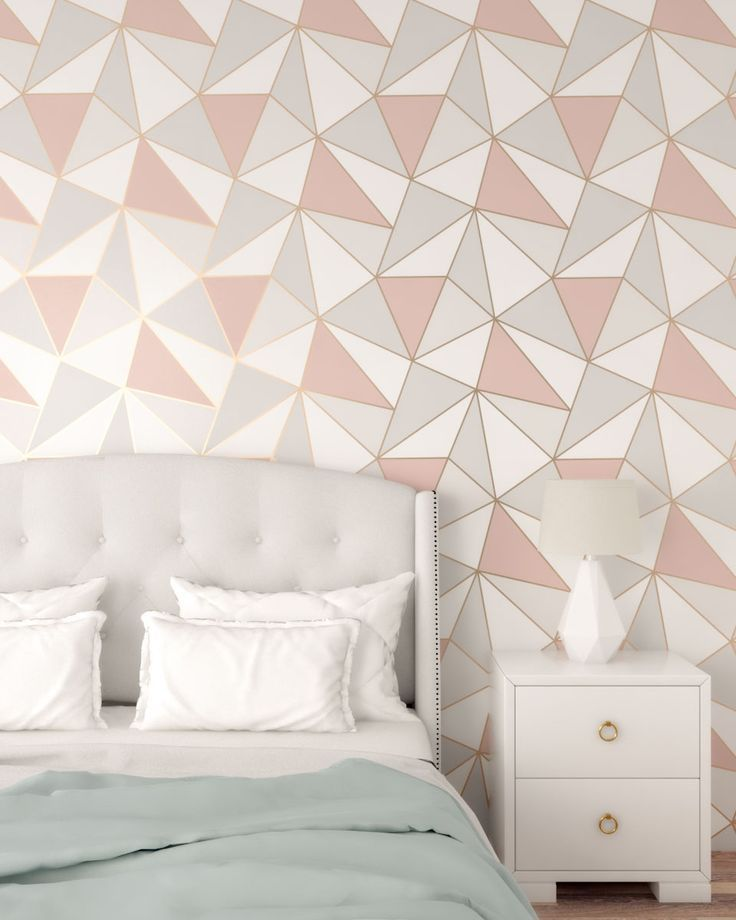 Rose Gold And Gray Bedroom With Geometrical Shaped Wallpaper Gold Wallpaper Bedroom Rose Gold Bedroom Wallpaper Rose Gold And Grey Bedroom Bedroom wallpaper rose gold