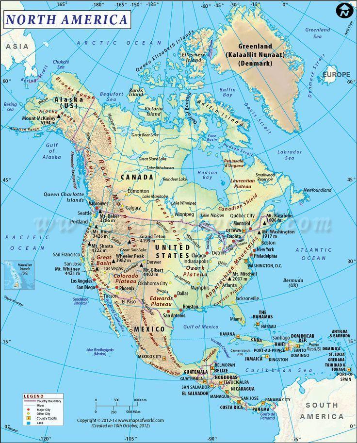 Eine Der Besten Karten Nordamerika Zeigt Physische