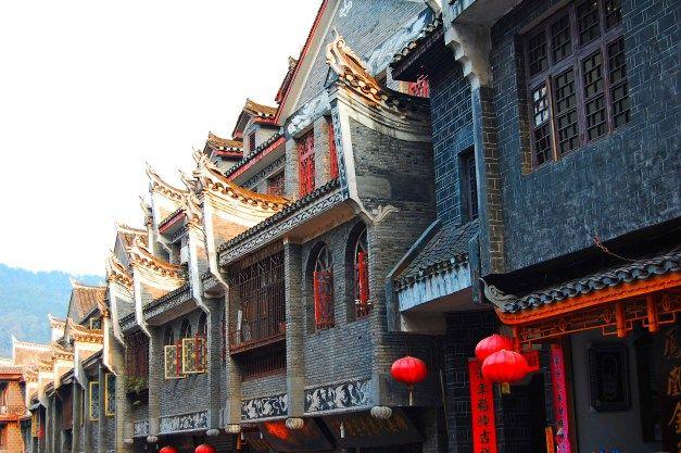 Traditional stone houses of Miao people, Hunan province, China