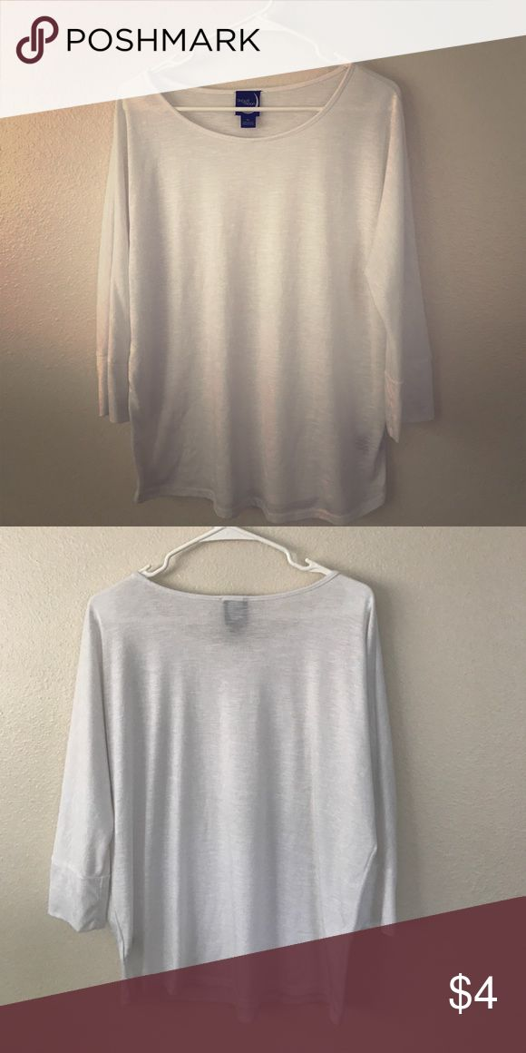 Basic white 3/4 sleeve tee I can imagine pairing this with skinny jeans, brown riding boots, and a beautiful scarf in the fall. Or maybe, for summer time, cute denim shorts and sandals. The possibilities are endless! Tops Tees - Long Sleeve