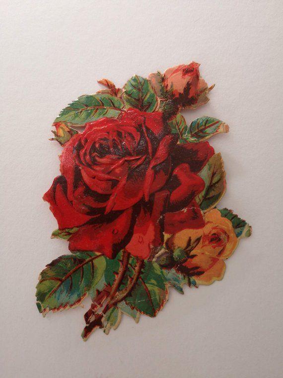 Victorian Rose Flower Original Scrap Victorian Rose Rose Flower Red Roses