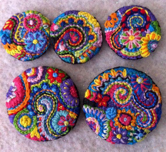 Freeform embroidery Sugar Skull brooch Brooch 104 por Lucismiles