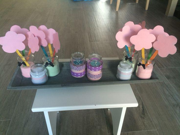 Elke gast kan op een bloem schrijven (babyshower)