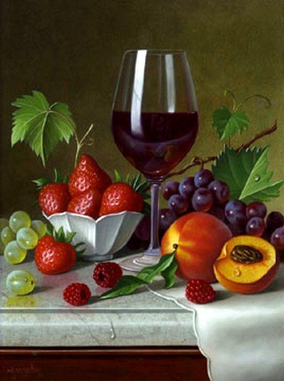 Frutas e taça de vinho Mais