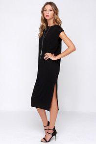 A Kiss Away Black Midi Dress!   Lulus.com