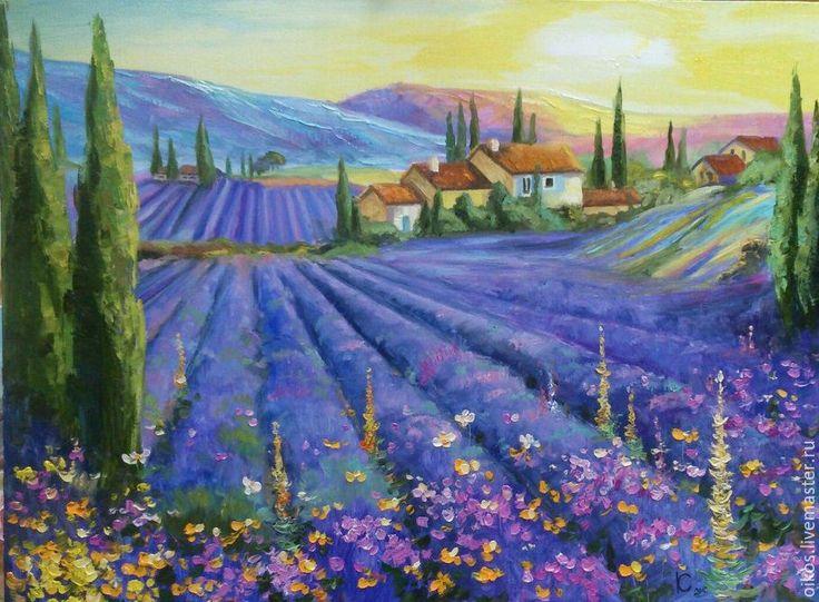 Купить Сиреневый лавандовые поля прованс Париж - картина маслом на холсте - комбинированный, сиреневый, фиолетовый