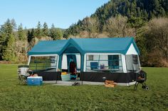 With its grand spacious cabin comfort design, the Grand Canyon 12-person tent feels more like a house than a tent. Divider curtains can be used to make the tent 3 rooms for added privacy and two full size closets provide great storage and organization. Se
