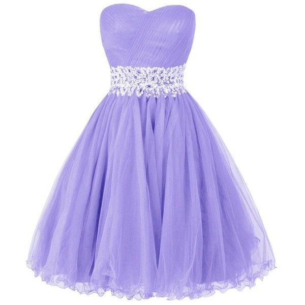 Ellames Sweetheart Homecoming Beading Short Prom Dresses Ball Gown |... ($76) ❤ liked on Polyvore featuring dresses, gowns, purple homecoming dresses, short evening dresses, prom gowns, purple dress and purple evening dresses