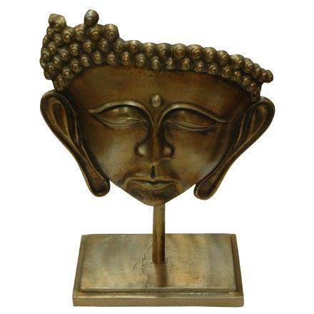 Boeddha hoofd op standaard, uitgevoerd in aluminium met raw bronzen afwerking