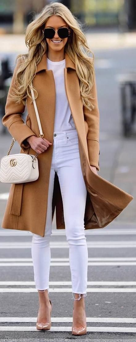 #winter #outfits white top, white jeans, long brown coat, heels