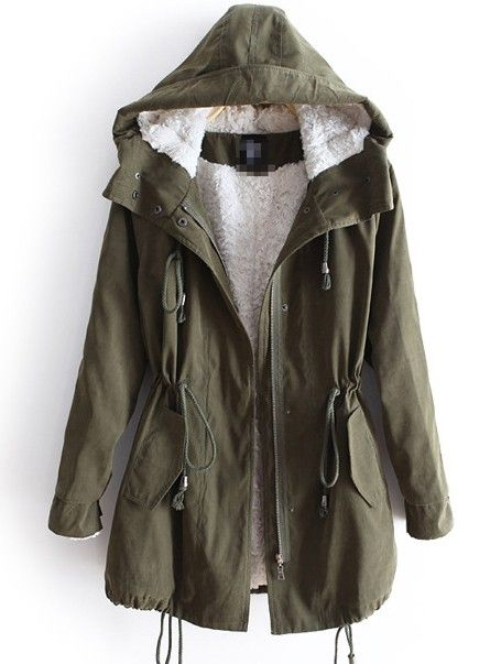 Green Hooded Long Sleeve Drawstring Pockets Fleece Coat - (would love one that has warmer layers that zip in and out so I could wear it year round!) I also want it to be long enough to cover my bum when I wear leggings