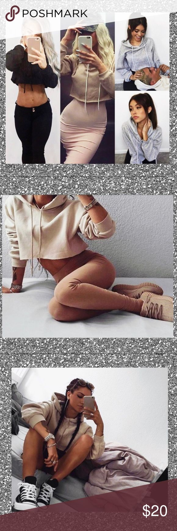 ⒸⓇⓄⓅⓅⒺⒹ ⒽⓄⓄⒹⒾⒺ  ✨deets: tan hoodie, cropped with draw strings   ✨ size: M  ✨ My line will be coming out January 2018  TAGS: forever 21, crop top, baddie, insta baddie, trendy, stylish, cute, hottie, american eagle, kylie, kim, zara, bad,urban outfitters,thrasher, tumblr, trendy Tops Sweatshirts & Hoodies