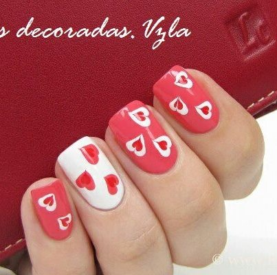 Valentine's Day hearts nail art
