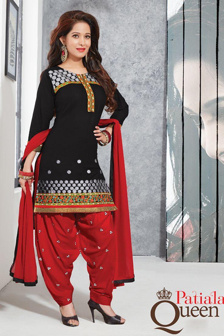 Designer functional wear black cotton punjabi style patiyala dress with embroidary work...