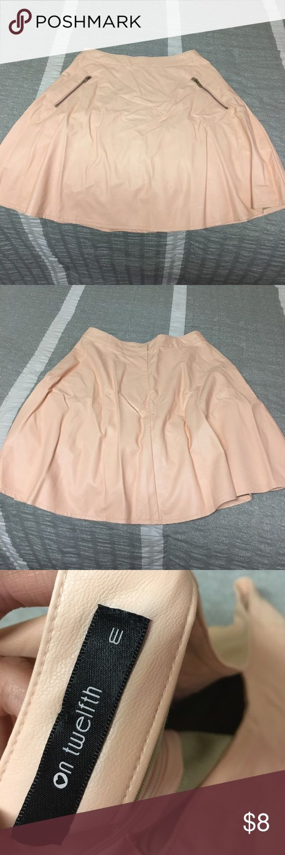 Pink faux leather skater skirt Faux leather skirt with two zippers Skirts Circle & Skater