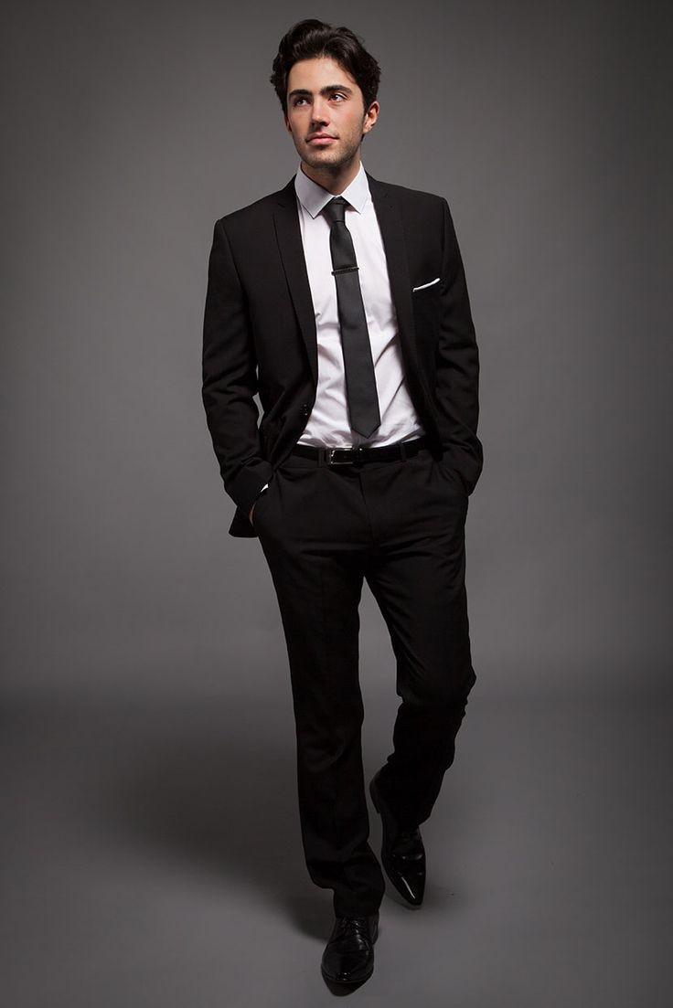 classic black slim fit suit for the groom with white shirt