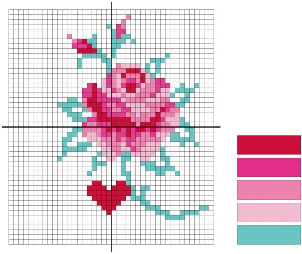 Cross stitch pattern and granny square diagram for Handmade Fair VIPs
