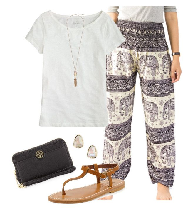 """Elephant pants"" by grace-turnipseed ❤ liked on Polyvore featuring K. Jacques, J.Crew, Kendra Scott and Tory Burch"