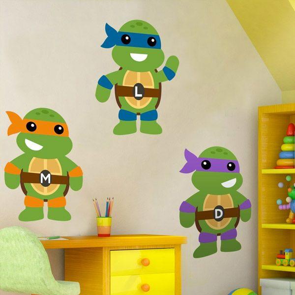Adesivi per bambini: Kit tartarugas Ninja. Adesivi murali bambini a kit. #adesivimurali #decorazione #modelli #mosaico #tartarugas #ninja #StickersMurali