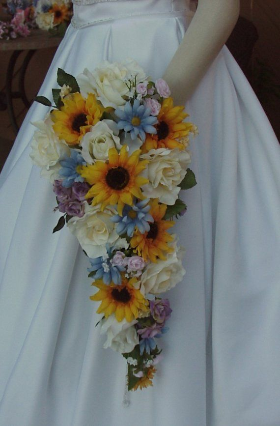 Sunflower Wedding Bouquet Set Sunflower Country by BridalBouquets, $286.00