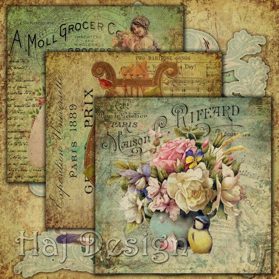 Decoupage Bouquets Digital Collage Sheets Digital by HajDesign