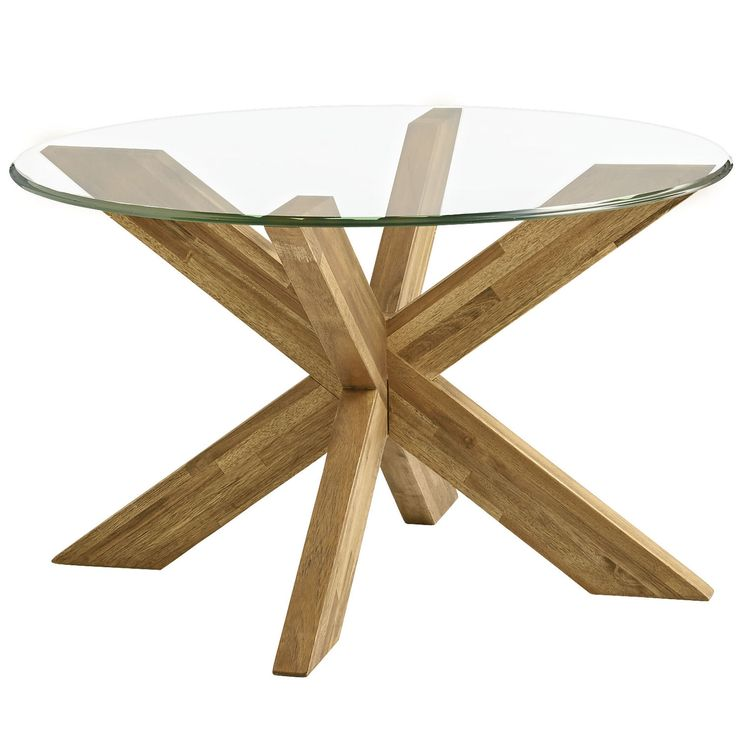 """A big """"X"""" marks this modern treasure. With sleek lines, smooth acacia wood construction and a rustic finish, this base definitely has a wow factor. 30"""" glass top sold separately."""