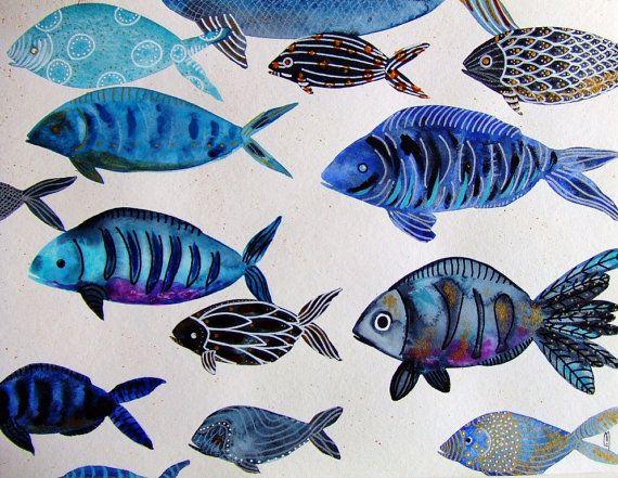 Decor blu grigio animale oceano natura Decor di CelineArtGalerie
