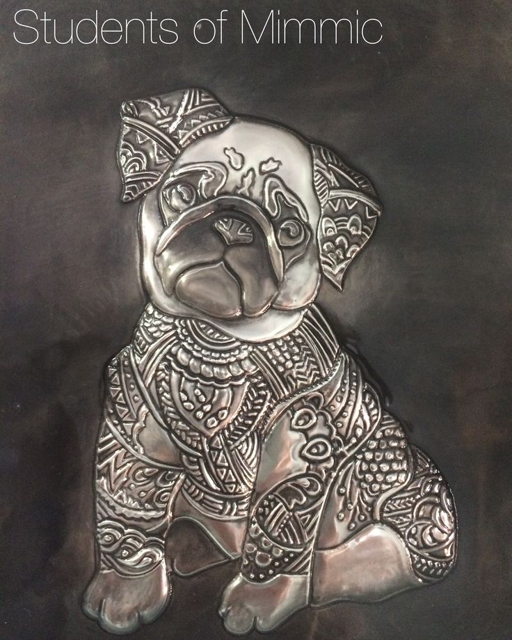 Gorgeous Pug by Esther from our Thursday class. #pewter #pug #creative
