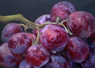 Obra Uvas rosadas de Dario Darguez  Oleo sobre lienzo 50x70cm #art #grapes #hiperrealism #oil #fineart
