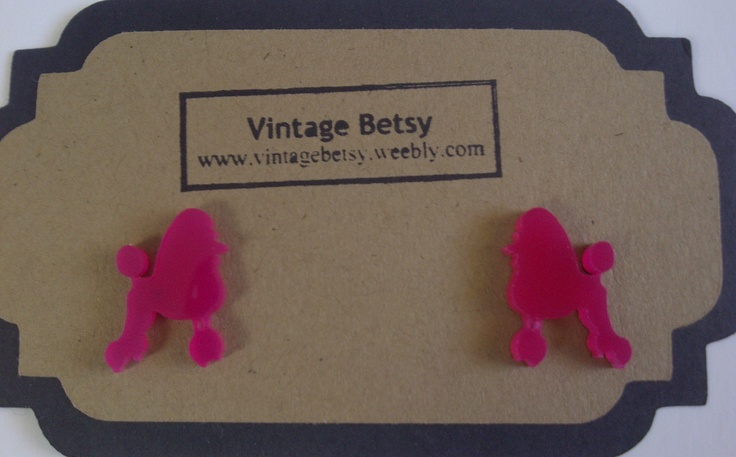Pink Poodle earrings by Vintage Betsy