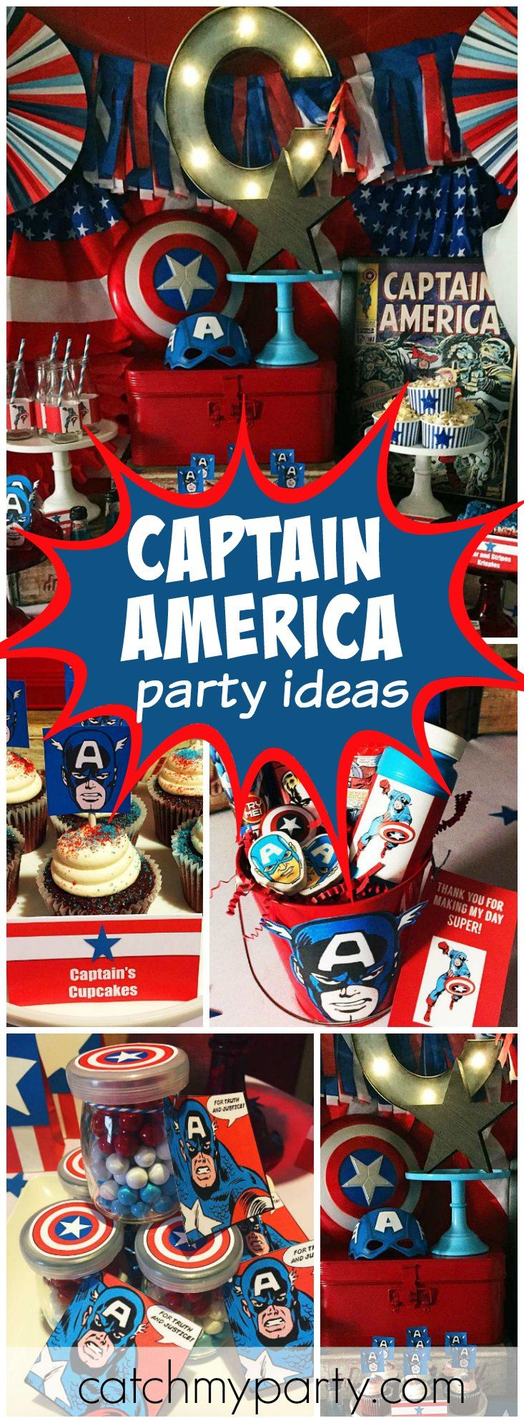 Check out this vintage Captain America birthday party! See more party ideas at CatchMyParty.com!
