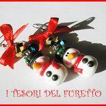 """Orecchini Natale """"pupazzi neve"""" omini di neve kawaii bambina idea regalo  snowman earrings fimo cernit moda 2015 idea regalo"""