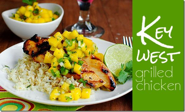Key West Grilled Chicken with Mango with Salsa & Cilantro-Lime Cauliflower Rice.  ☀CQ #summer #barbecue #grilled