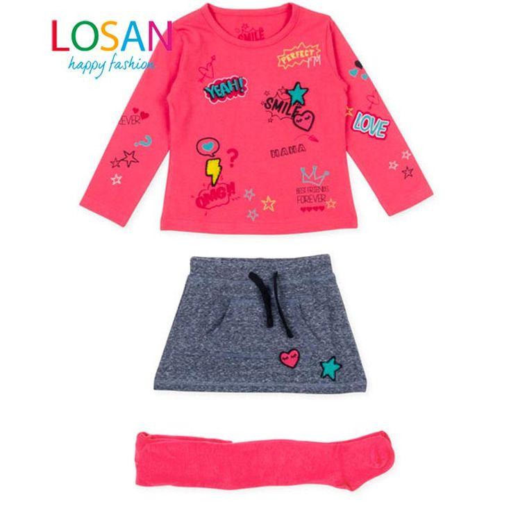 Conjunto de niña LOSAN camiseta manga larga y falda con leotardos