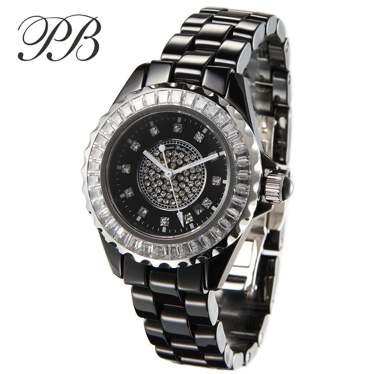 Find More Dress Watches Information about PB Brand Swarovski Crystal Women's Classic Black Ceramic Watches Luxury Gems Ladies Quartz Watch Women Sapphire Waterproof Clock,High Quality clock radar,China clock Suppliers, Cheap clock pocket watch from YIKOO fashion watches on Aliexpress.com