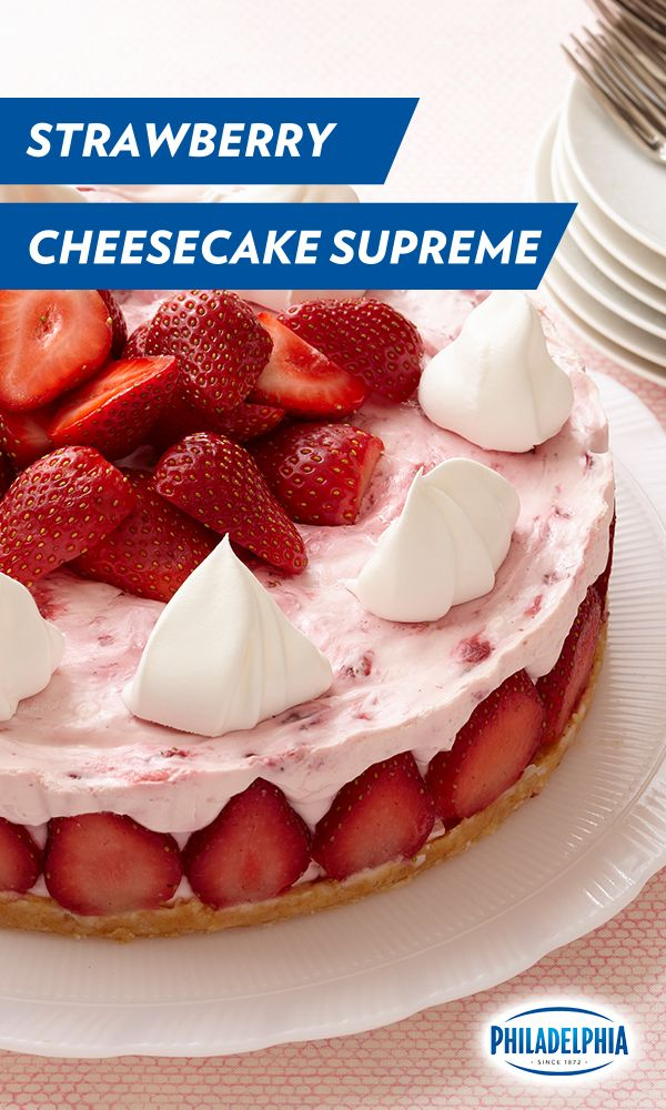 We don't use Supreme lightly, and let us tell you, this Strawberry Cheesecake Supreme made with PHILADELPHIA Cream Cheese, vanilla wafers, coconut, fresh strawberries, and COOL WHIP is just that. Perfect for your 4th of July dessert table!