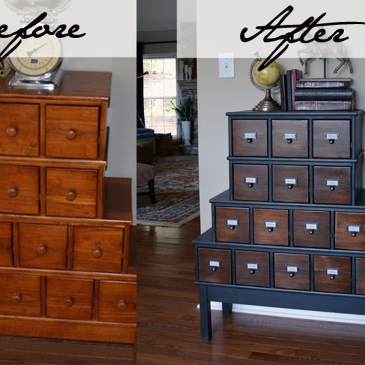 Vintage Style Apothecary Cabinet Before After