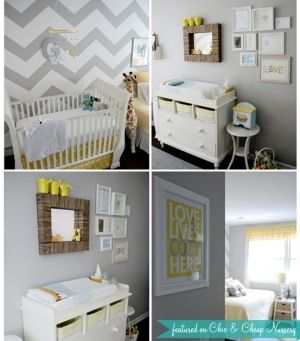 Grey, yellow, and white color scheme it what he will have.  I like the chevron wall.