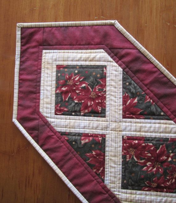 Christmas Table Runner Poinsettia Quilted Table by ISewTotes