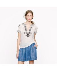J.Crew | White Baja Embroidered Top | Lyst